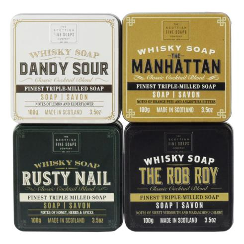 Scottish Fine Soaps Complete Whisky Cocktail Soaps in a Tin Collection