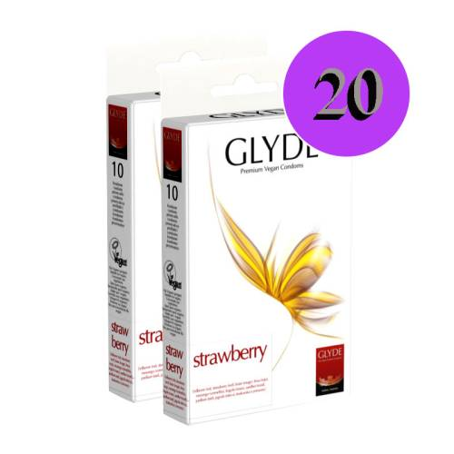 Glyde Strawberry 20 Pieces Condoms Vegan, Flavoured, Coloured
