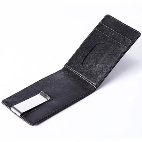 Black Leather Continental Wallet And Money Clip