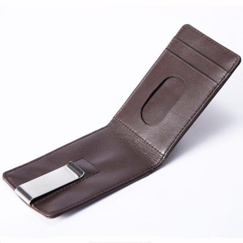 Brown Leather Continental Wallet And Money Clip