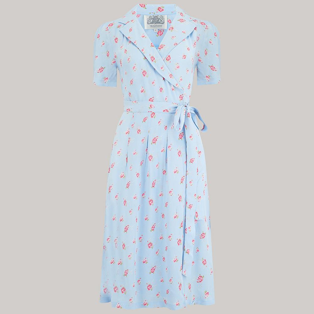 1940s Dresses and Clothing UK | 40s Shoes UK Peggy Wrap Dress - Powder Blue Rose 8 £79.00 AT vintagedancer.com