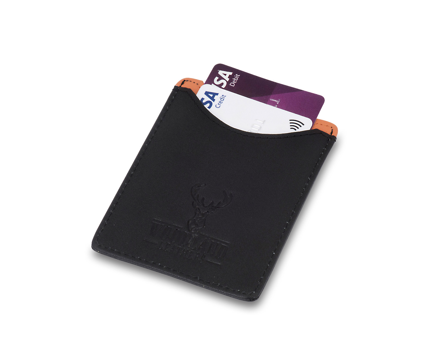 Woodland Leathers Black And Orange Credit Card Case and Money Clip