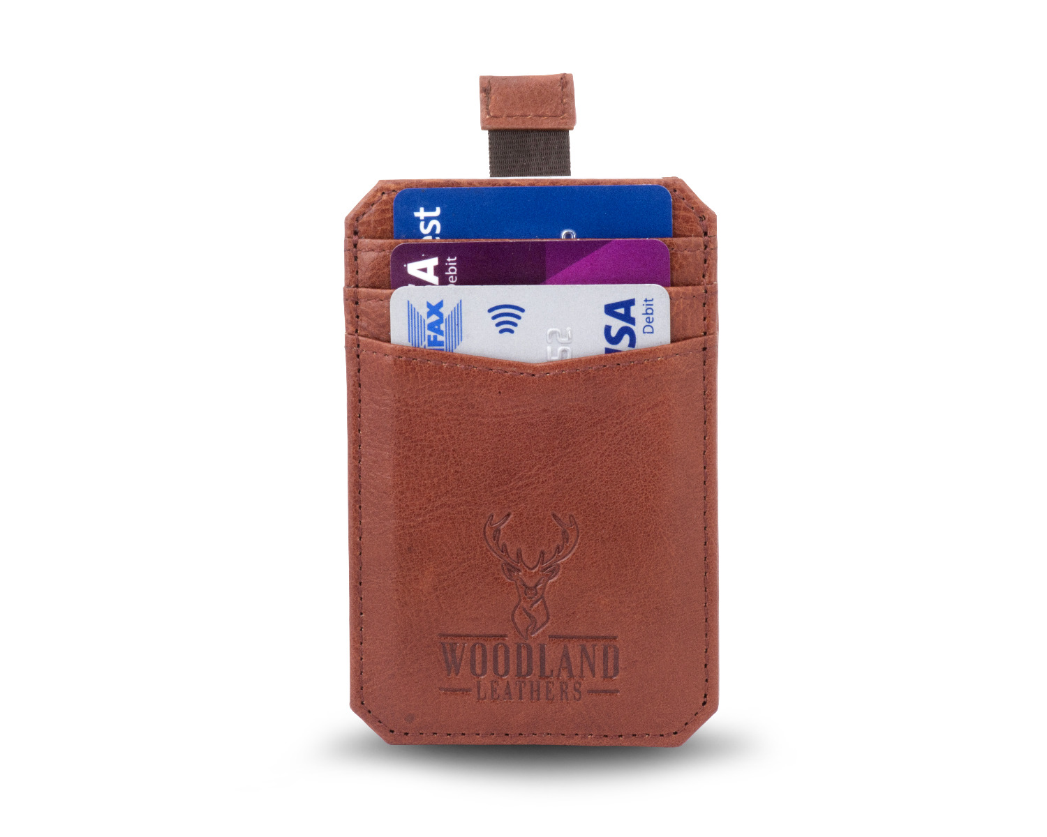 Woodland Leathers Brown Leather Credit Card Case