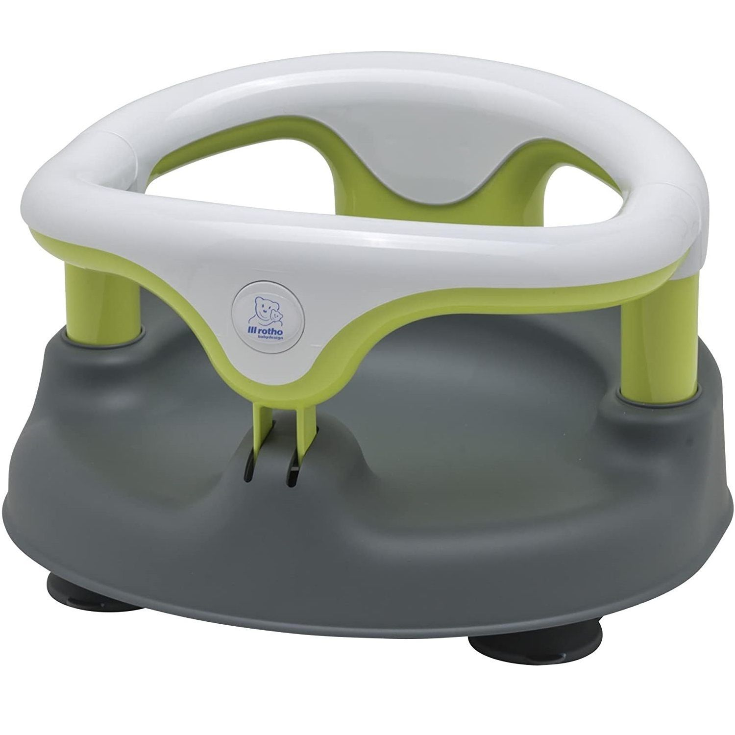 Rotho Babydesign Bath Seat, With hinged ring and child safety lock, 7-16 months, Up to 13 kg - Choose your colour - Grey/White/Apple Green