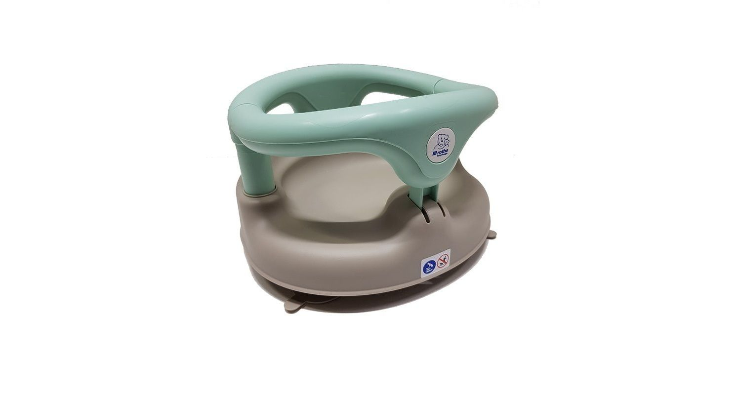 Rotho Babydesign Bath Seat, With hinged ring and child safety lock, 7-16 months, Up to 13 kg - Choose your colour - Grey/Mint Green