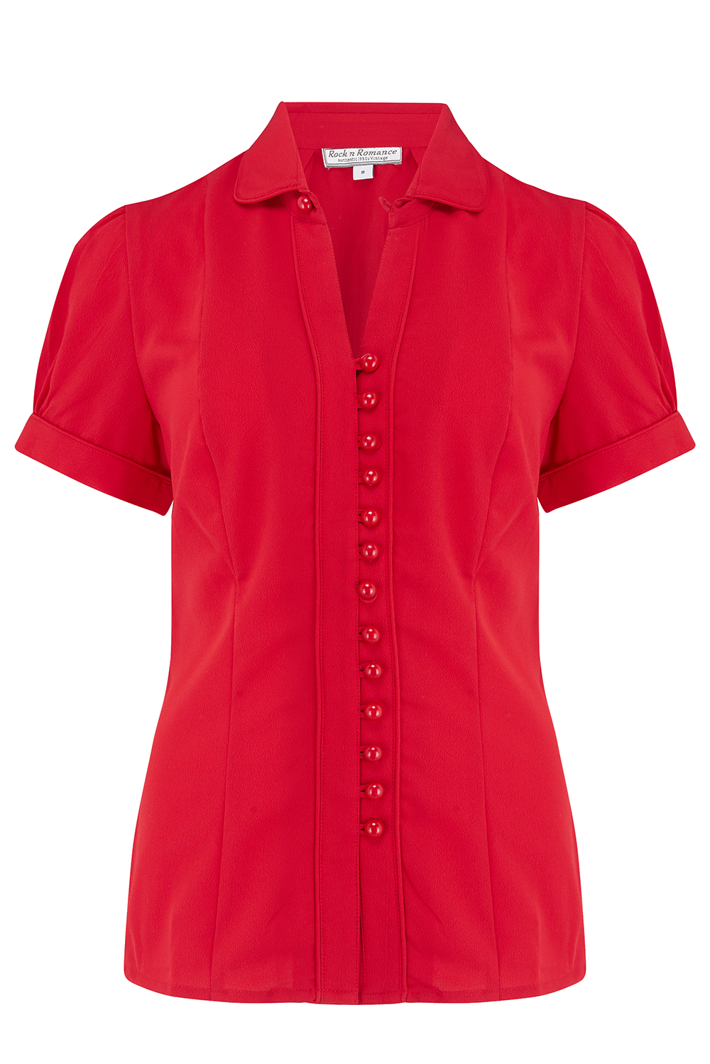 1940s Blouses and Tops Margot Blouse in Solid Red Perfect 1950s Style £35.00 AT vintagedancer.com
