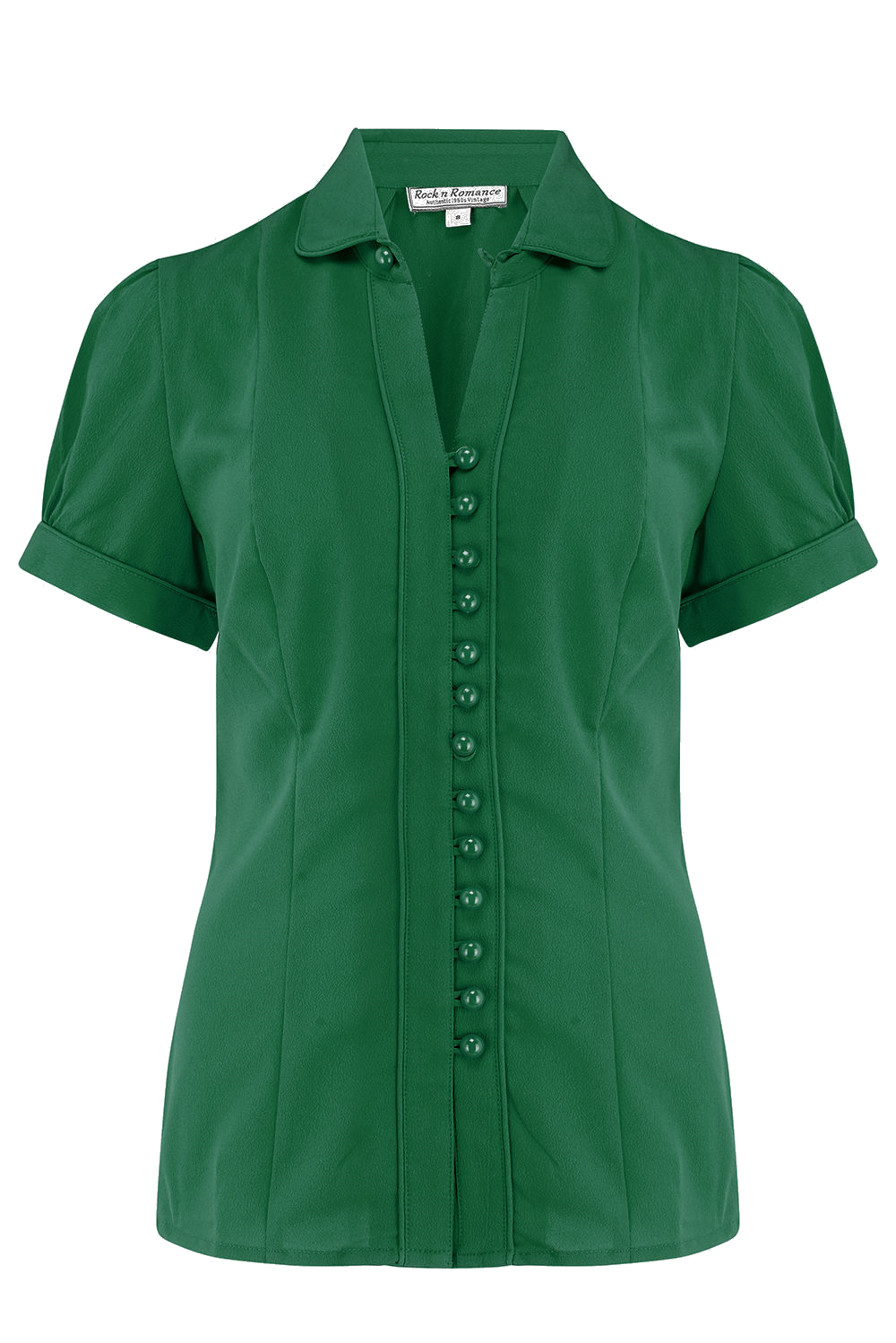 1940s Blouses and Tops Margot Blouse in Solid Green Perfect 1950s Style £35.00 AT vintagedancer.com