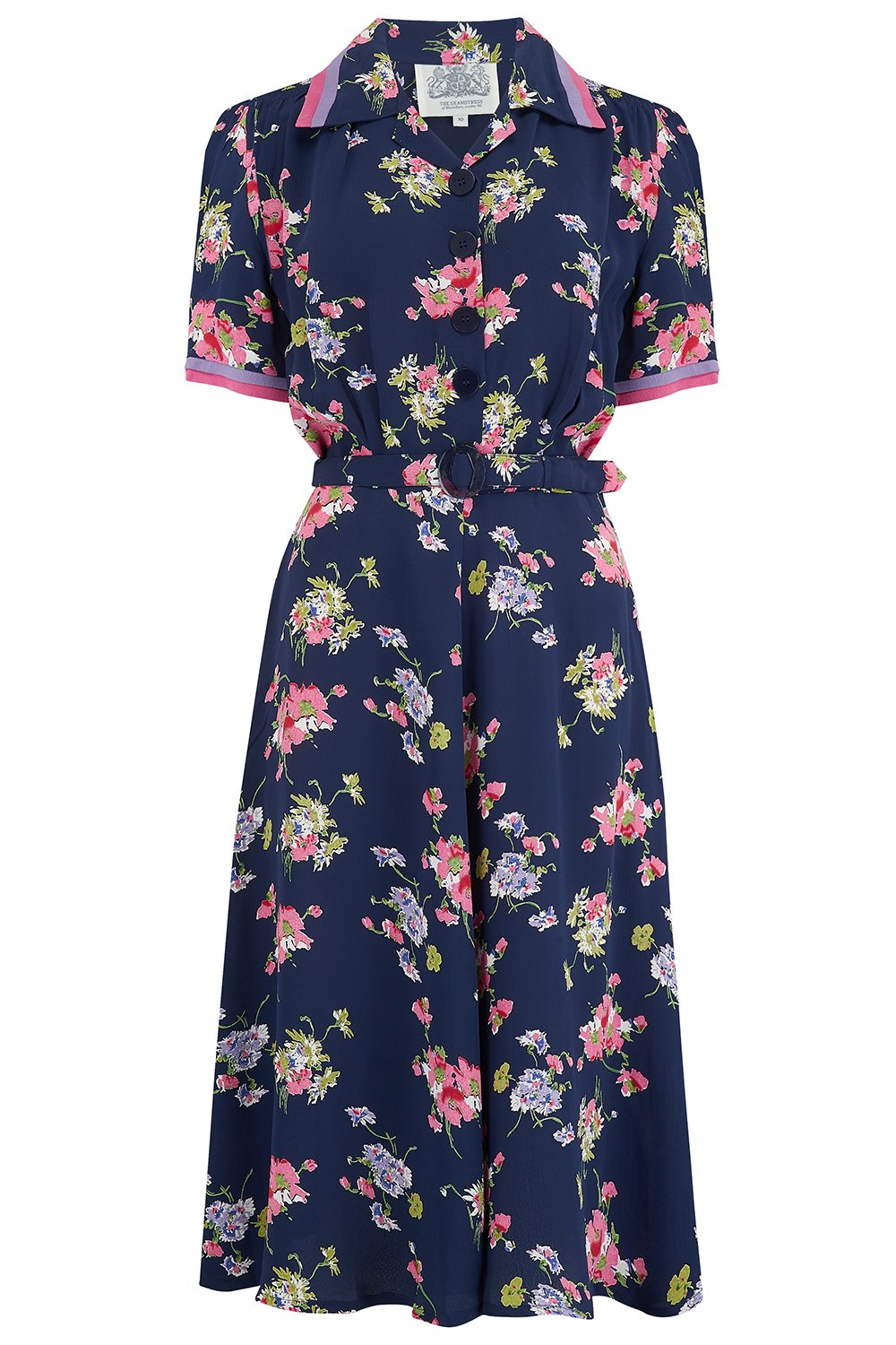 1940s Dresses and Clothing UK | 40s Shoes UK Roma Dress in  Navy Blue Mayflower Authentic  Classic 1940s Vintage Inspired Style £79.01 AT vintagedancer.com