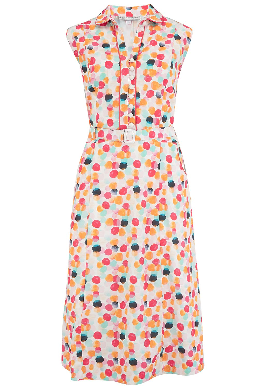 1950s Dresses, 50s Dresses | 1950s Style Dresses Margot Dress in Bubblegum Print Perfect 1950s Style £55.01 AT vintagedancer.com
