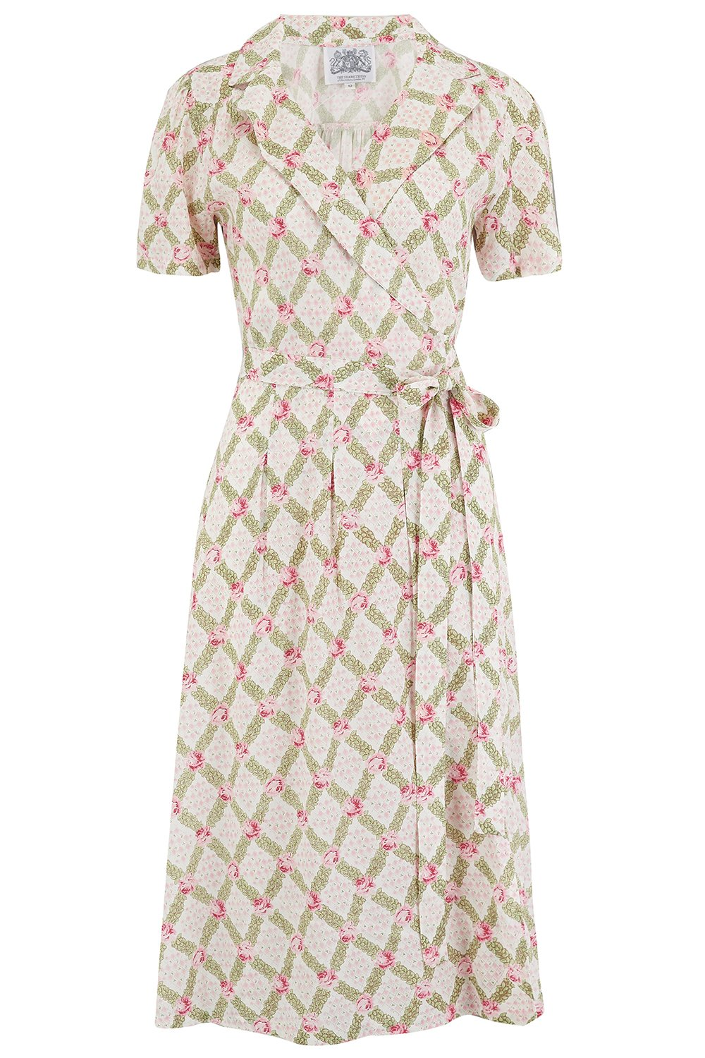 1940s Dresses and Clothing UK | 40s Shoes UK Peggy Wrap Dress in Rose Kiss Print Classic 1940s Vintage Style £79.01 AT vintagedancer.com