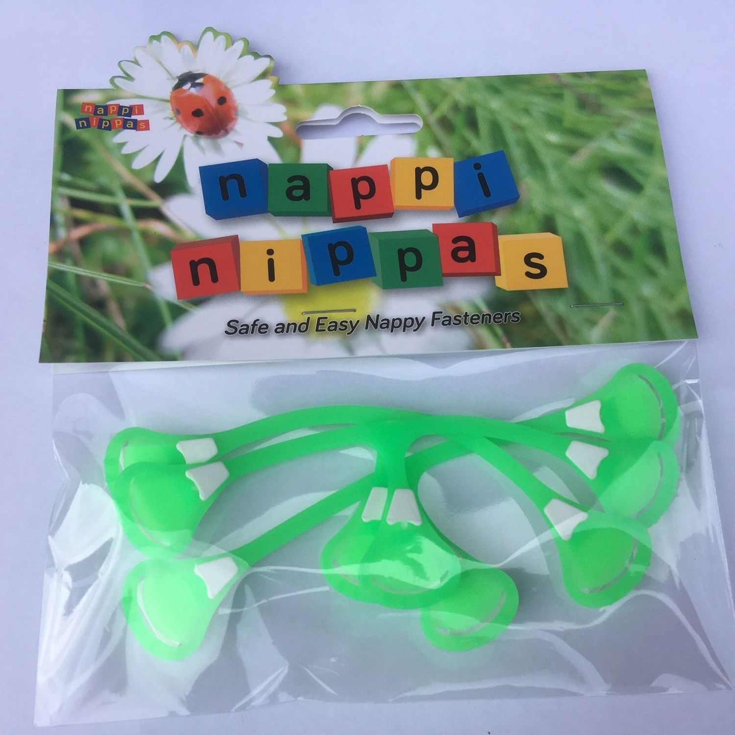 Nappi Nippas Nappy Fastener 3 Pack - Choose your colour - Neon Green