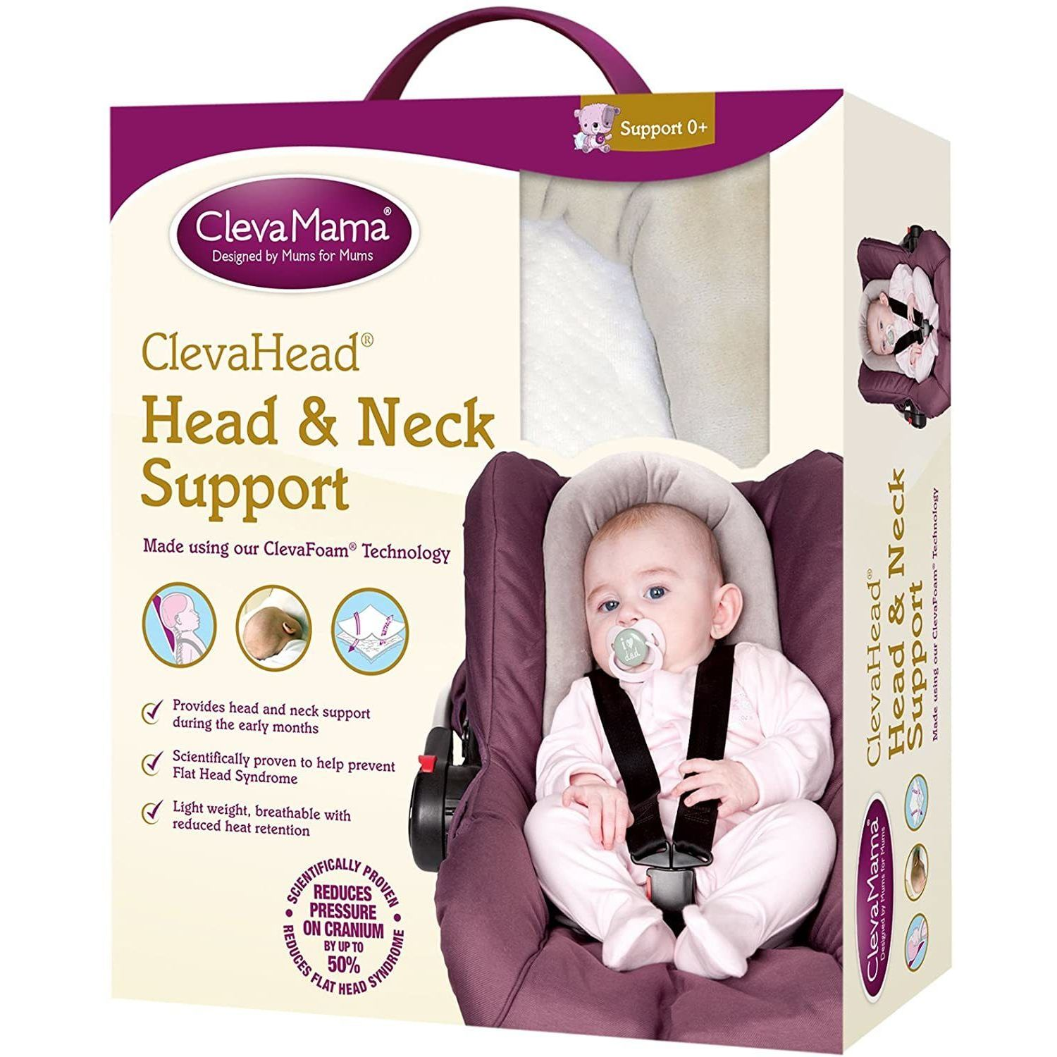 Clevamama ClevaFoam Head and Neck Support - Car Seat and Pram Insert (+0 Months) Grey