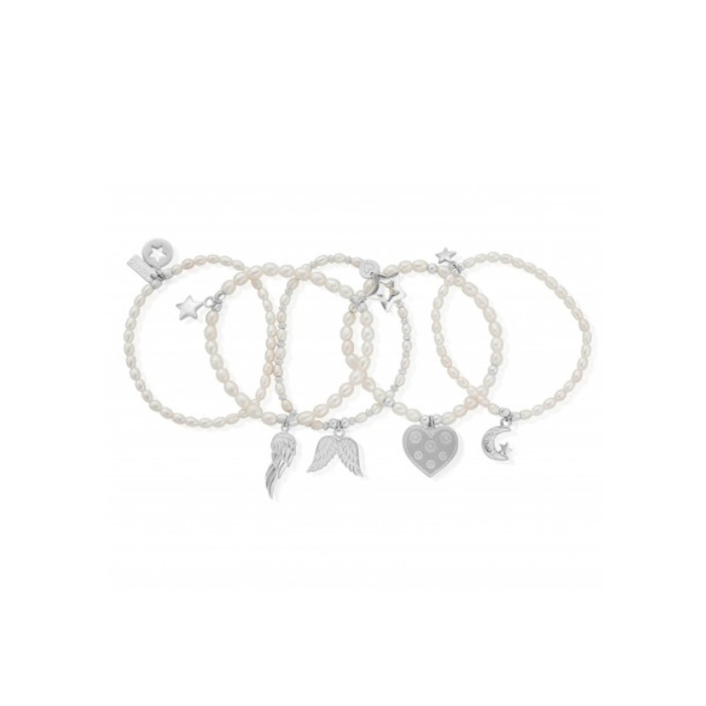 Pearl Set of 5 Star Bracelets - Pearl & Silver