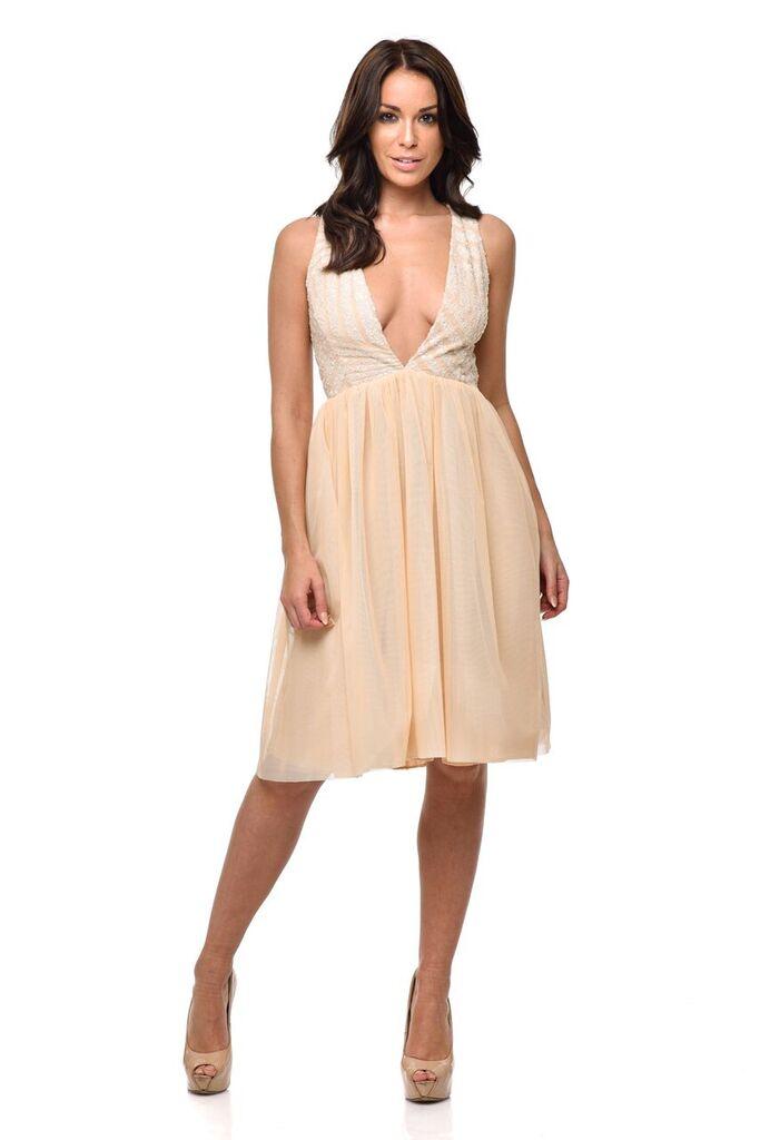 9bf069f7ea76 Nazz Collection Dita Nude Signature Sequin Bodycon Midi Dress - When