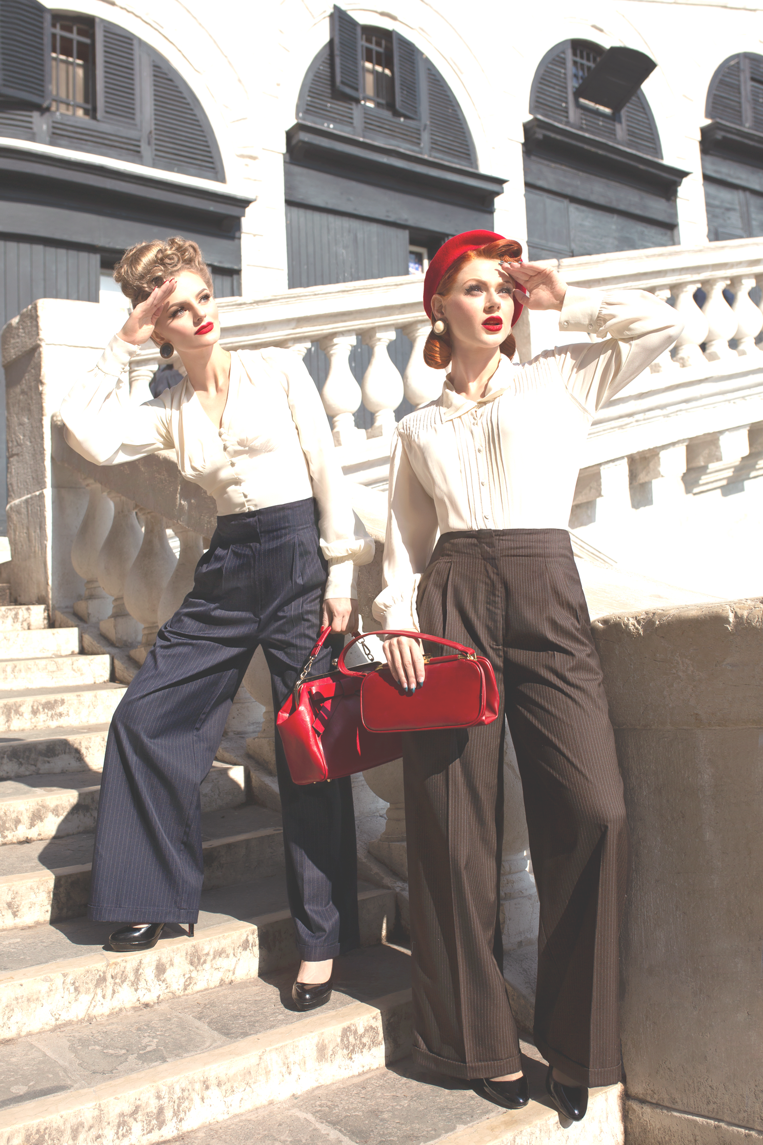 Vintage High Waisted Trousers, Sailor Pants, Jeans Audrey Tailored Trousers  in Solid Brown Perfectly Authentic 1940s Vintage Inspired Style £60.01 AT vintagedancer.com