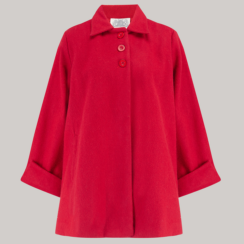 1940s Coats & Jackets Fashion History Swing Jacket - Red S £125.00 AT vintagedancer.com