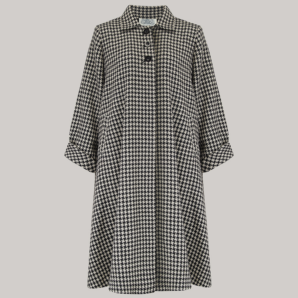 1940s Coats & Jackets Fashion History 43 Swing Coat - Houndstooth Check S £165.00 AT vintagedancer.com