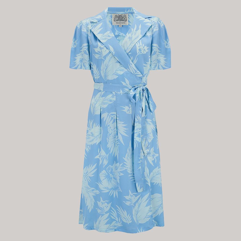 Retro Tiki Dress – Tropical, Hawaiian Dresses Peggy Wrap Dress - Blue Hawaii 8 £79.00 AT vintagedancer.com