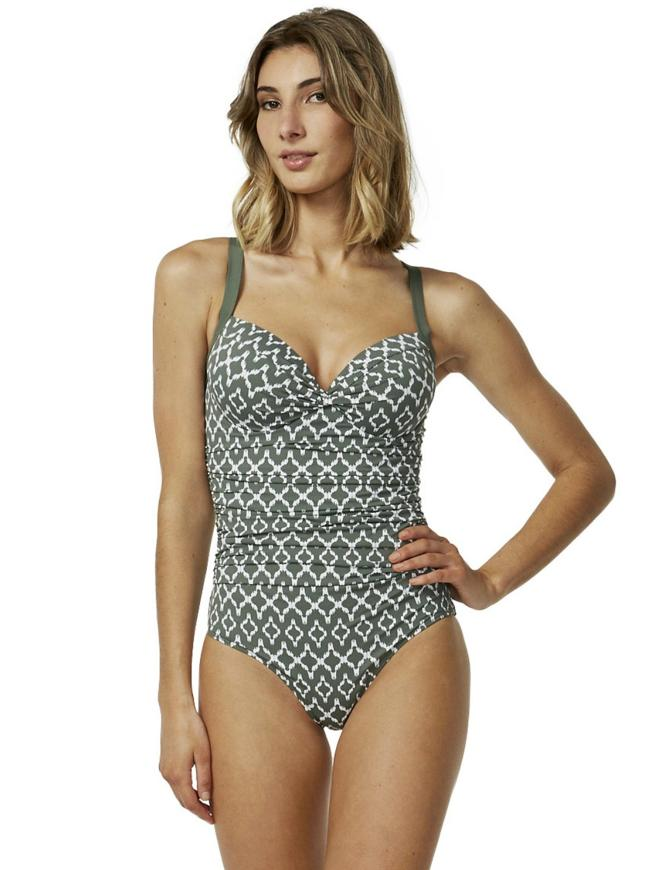 M4458 Moontide Sonar Underwired Cross Front Swimsuit M4458 Olive