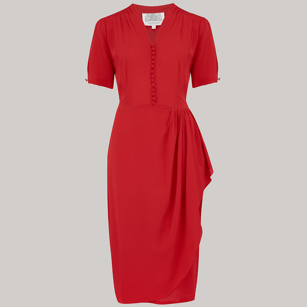 1940s Dresses | 40s Dress, Swing Dress Mabel Dress - 40s Red 8 £79.00 AT vintagedancer.com