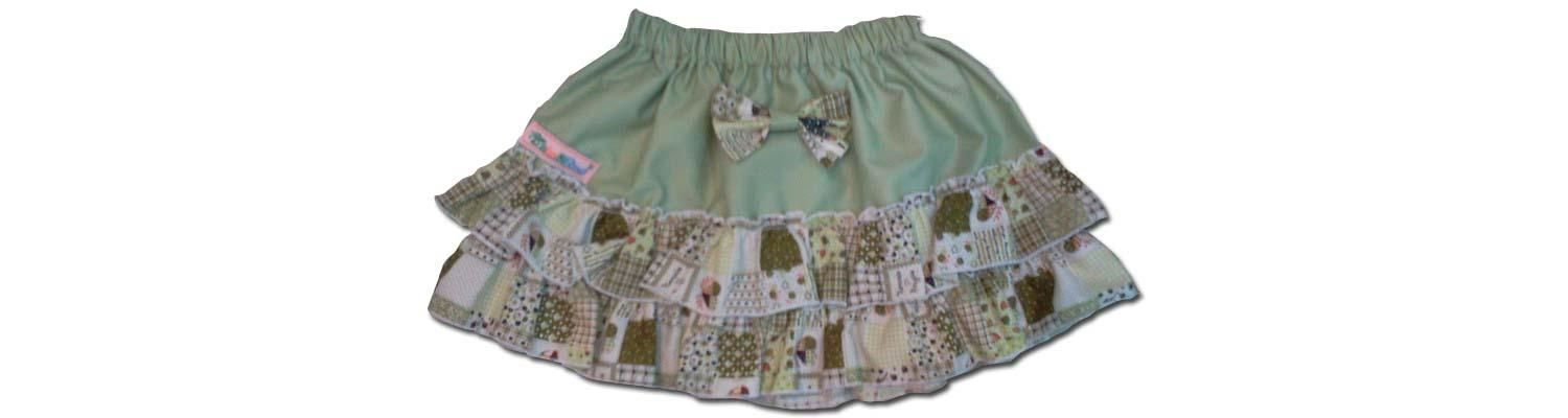 100% Cotton Baby RaRa Skirt - Green with Green Patchwork - Large
