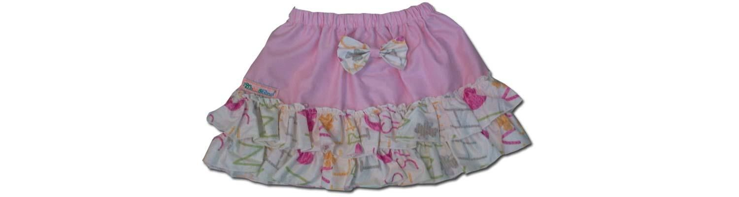 100% Cotton Baby RaRa Skirt - Pink with Funky Letters - Large