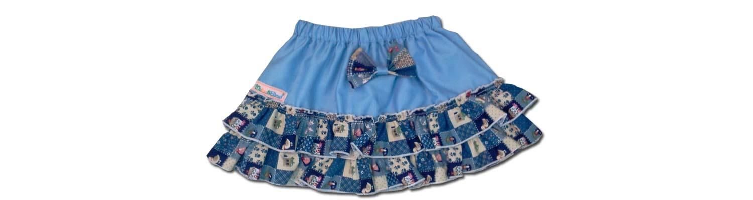 100% Cotton Baby RaRa Skirt - Baby Blue With Blue Patchwork - Large