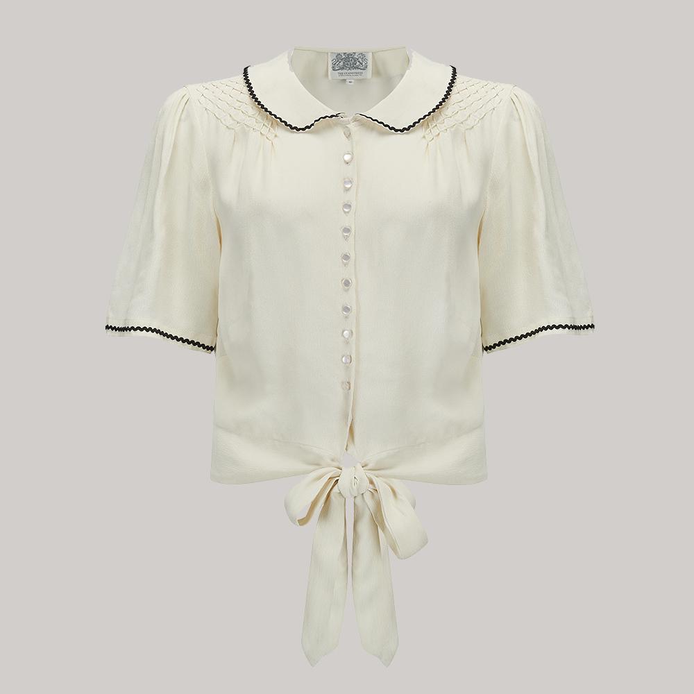 1940s Dresses and Clothing UK | 40s Shoes UK Helen Blouse - Cream w Black ric-rac 8 £39.00 AT vintagedancer.com