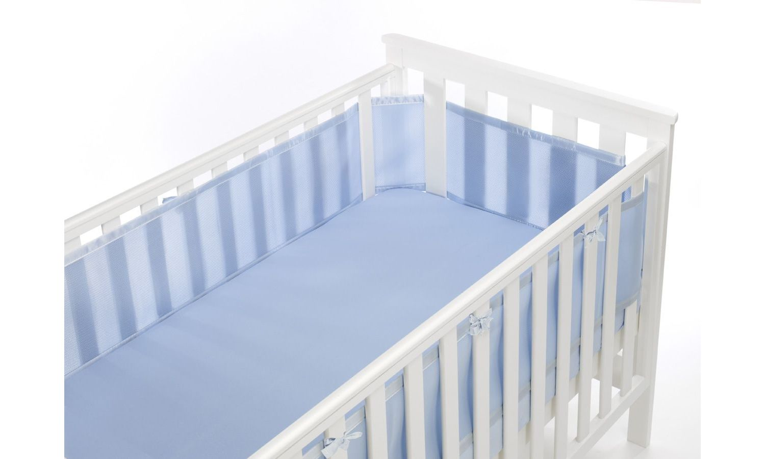 Safe Mesh Cot Liner Bumper - 4 Sided, Various Colours - Baby Blue