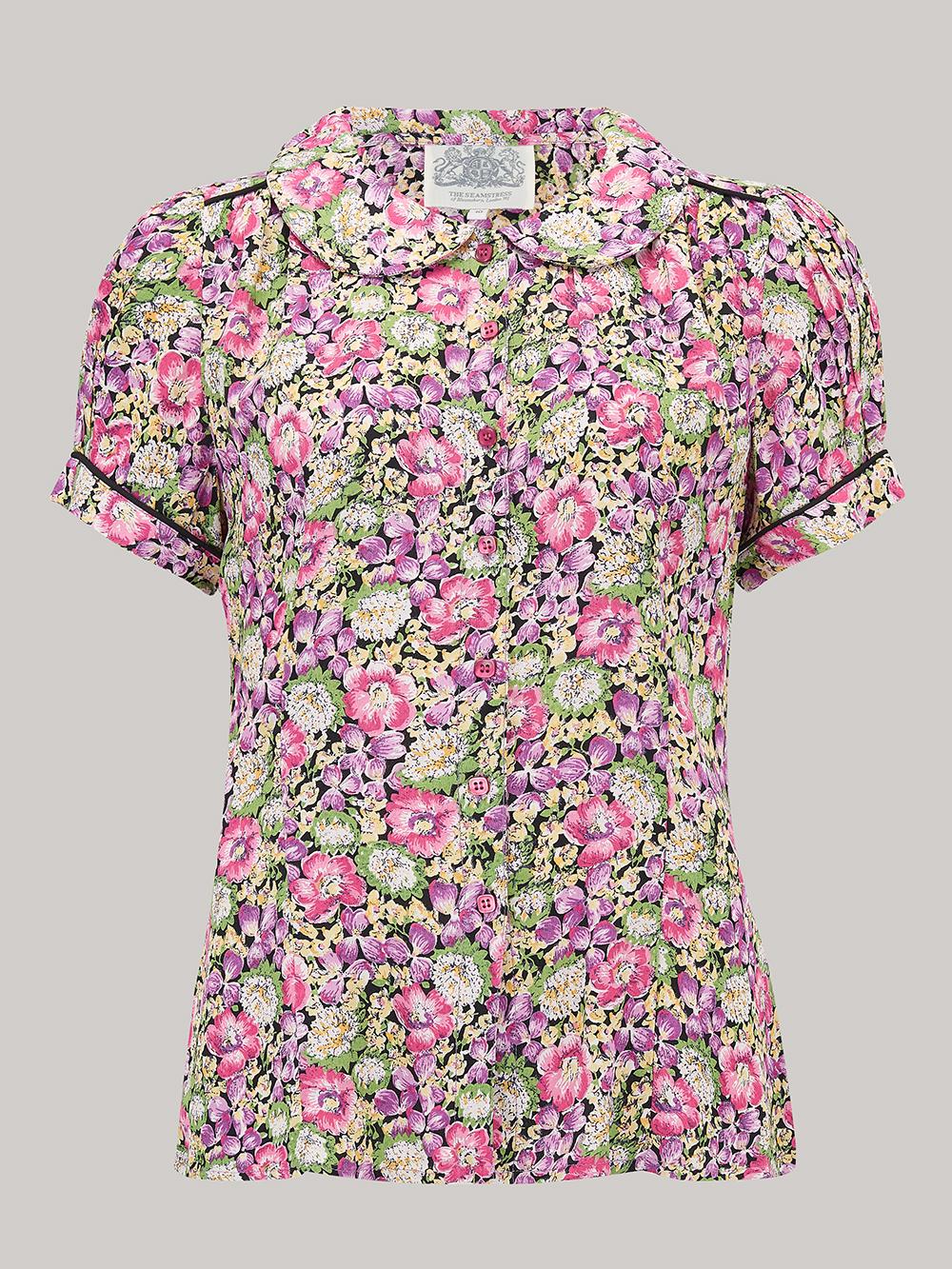 1940s Dresses and Clothing UK | 40s Shoes UK Jive Blouse - LiliacPink Flower 8 £39.00 AT vintagedancer.com