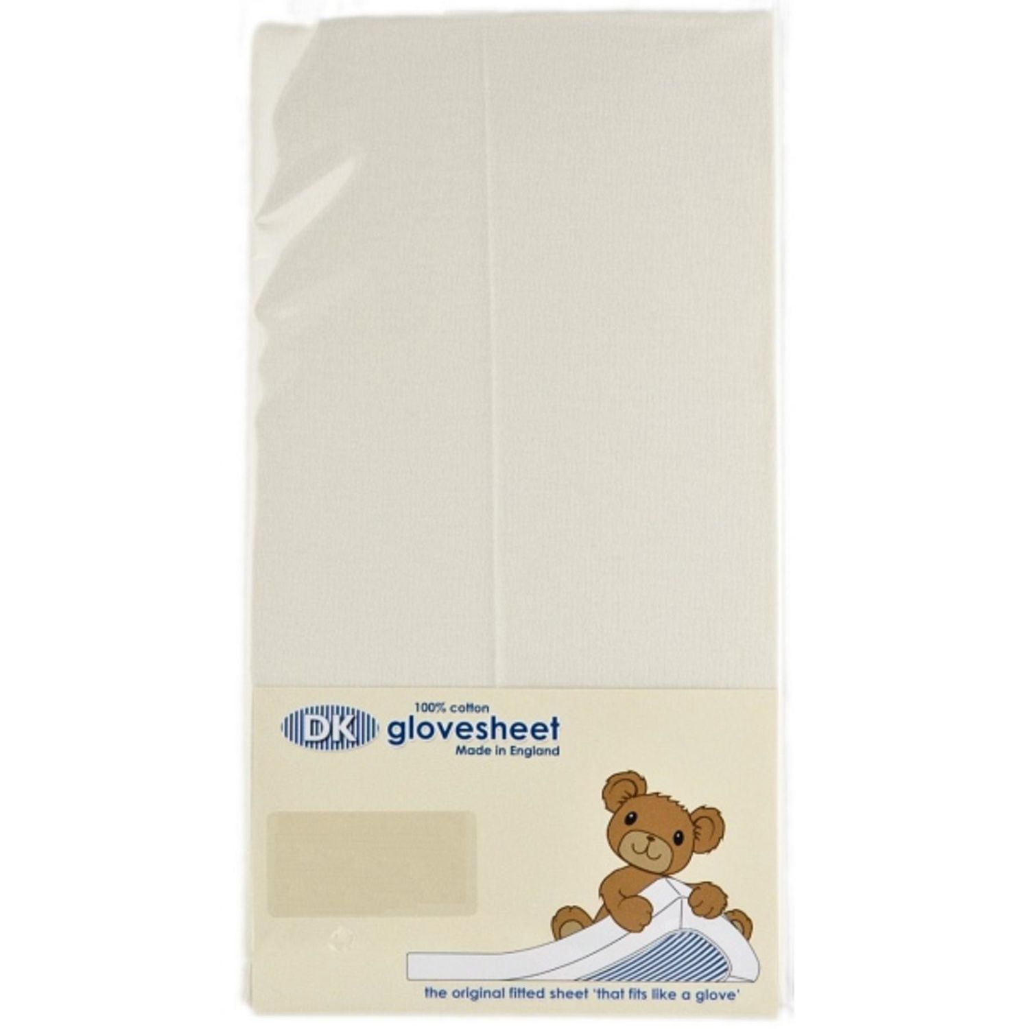 DK Glovesheet Pram Crib Flat Sheet Cream 100% Cotton Made In UK 75x100cm