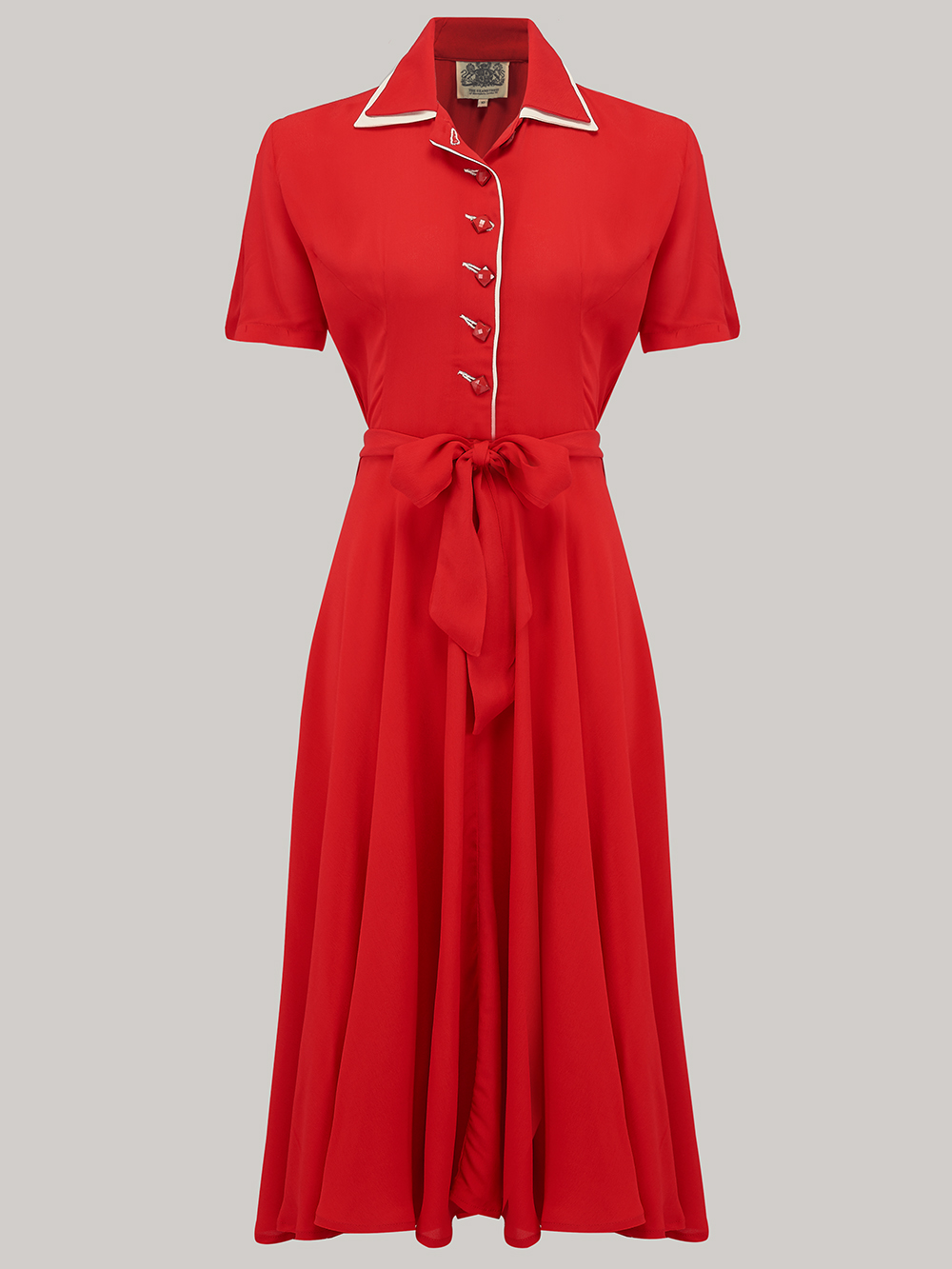 1940s Dresses | 40s Dress, Swing Dress Mae Dress - Red  Ivory 8 £79.00 AT vintagedancer.com