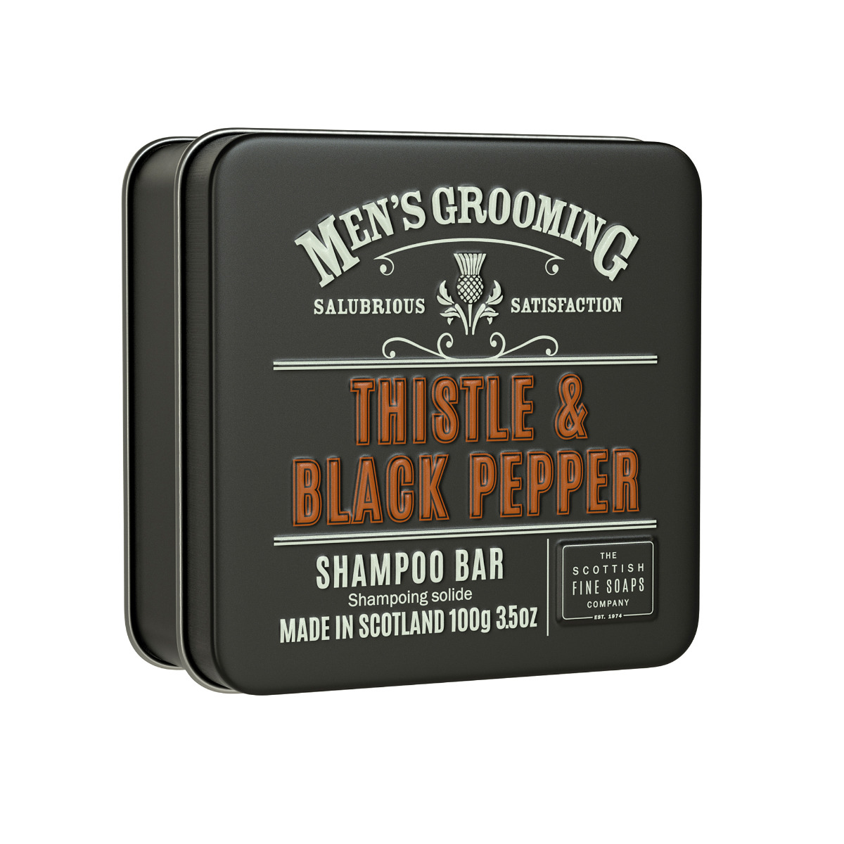 Scottish Fine Soaps Thistle & Black Pepper Shampoo Bar 100g