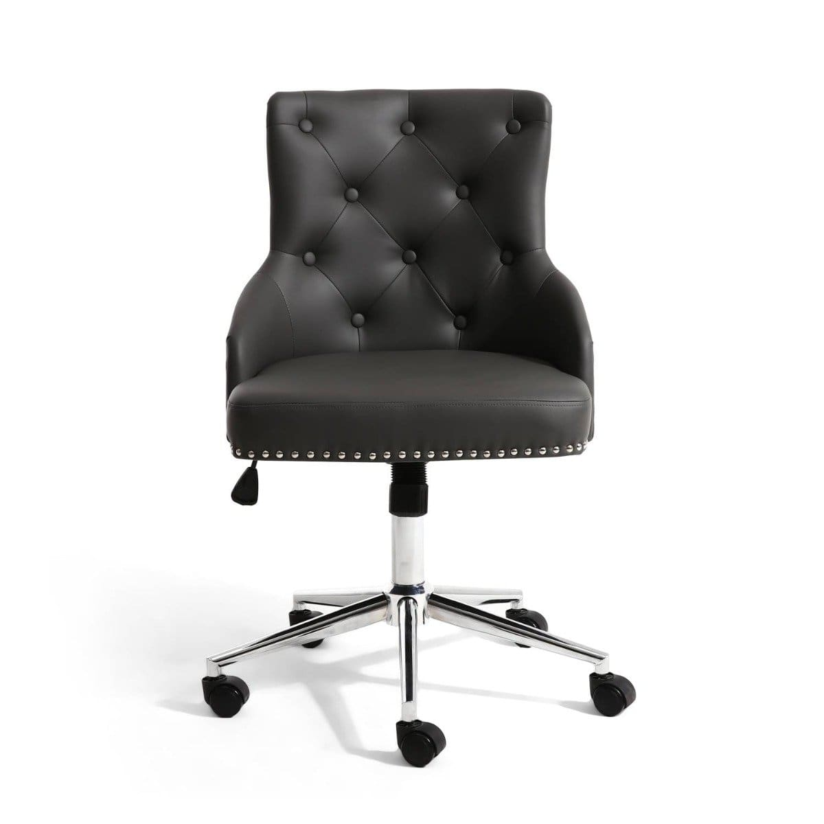Shankar Pipe Rocco Leather Effect Graphite Grey Office Chair