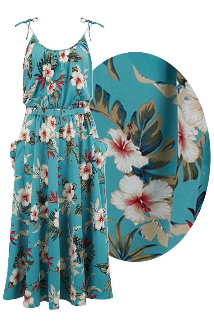 Swing Dance Clothing You Can Dance In Suzy Sun Dress in Teal Hawaiian Print Authentic 1950s Vintage Tiki Style £39.00 AT vintagedancer.com