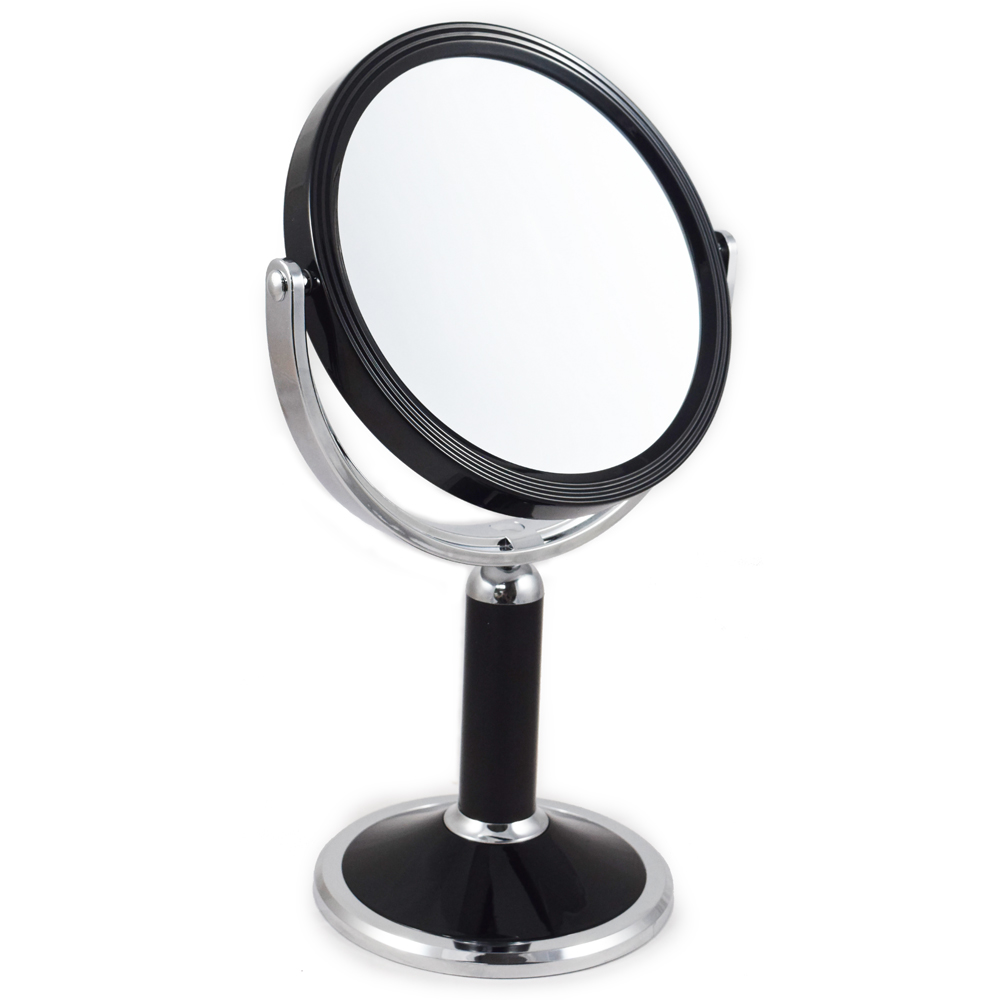 10x Magnification Black and Gold Pedestal Mirror