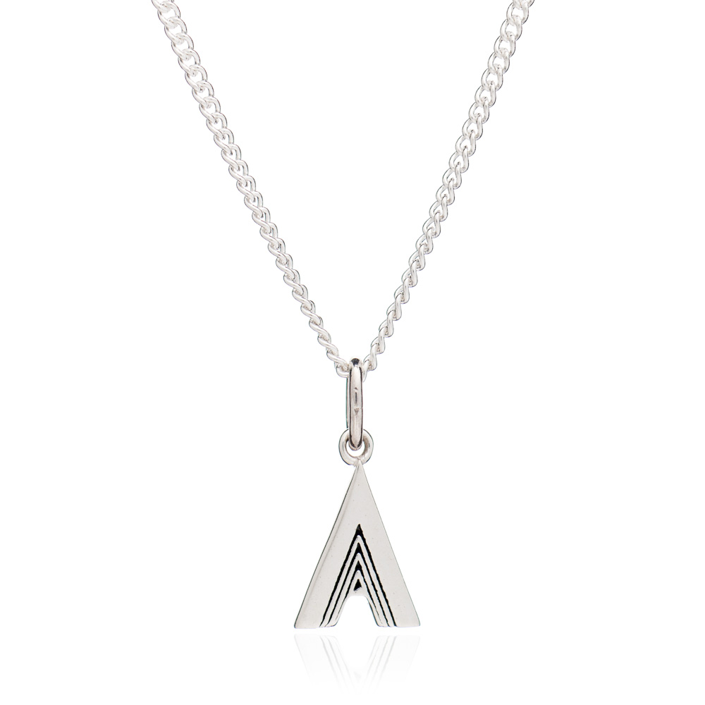'A' Alphabet Necklace - Silver