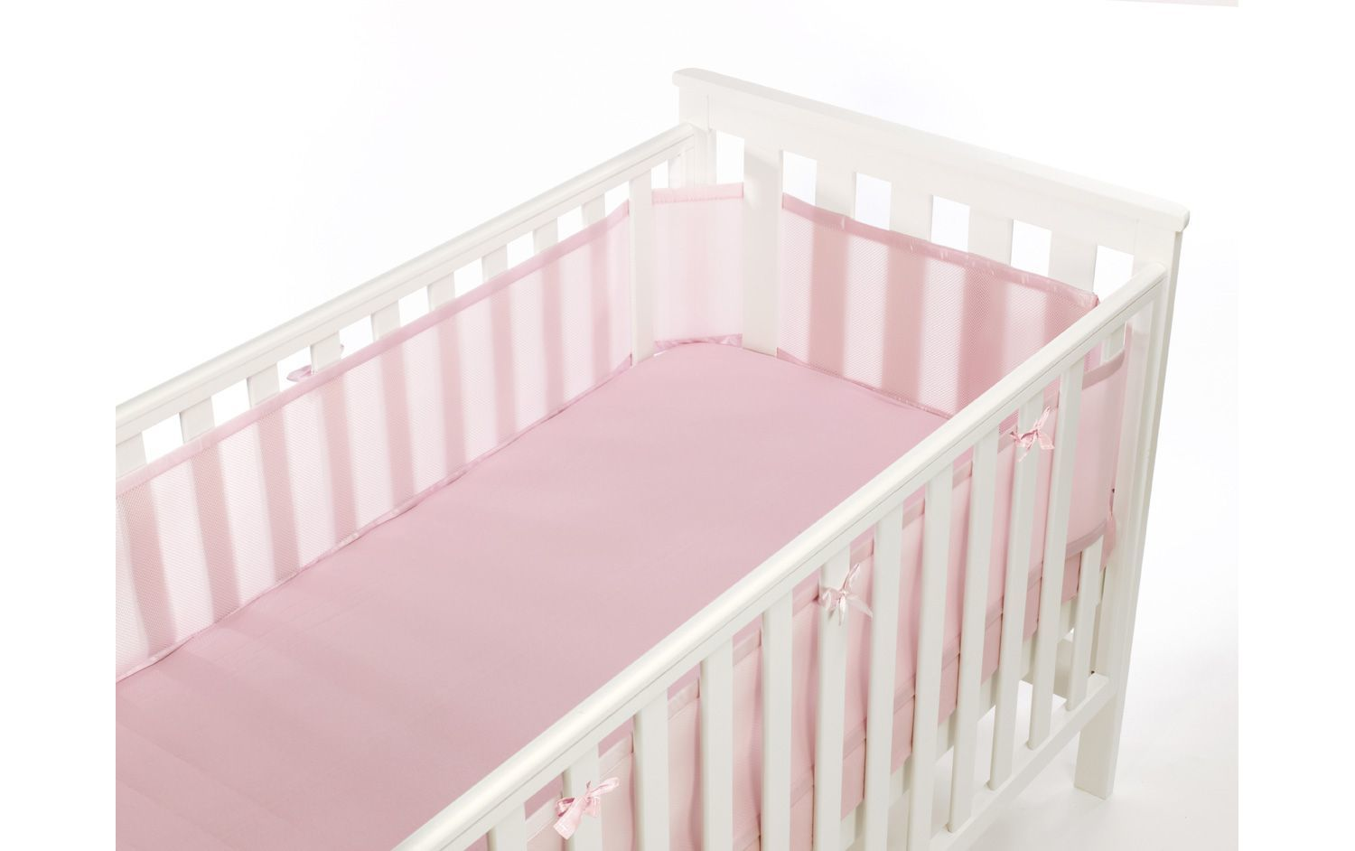 Safe Mesh Cot Liner Bumper - 4 Sided, Various Colours - Baby Pink
