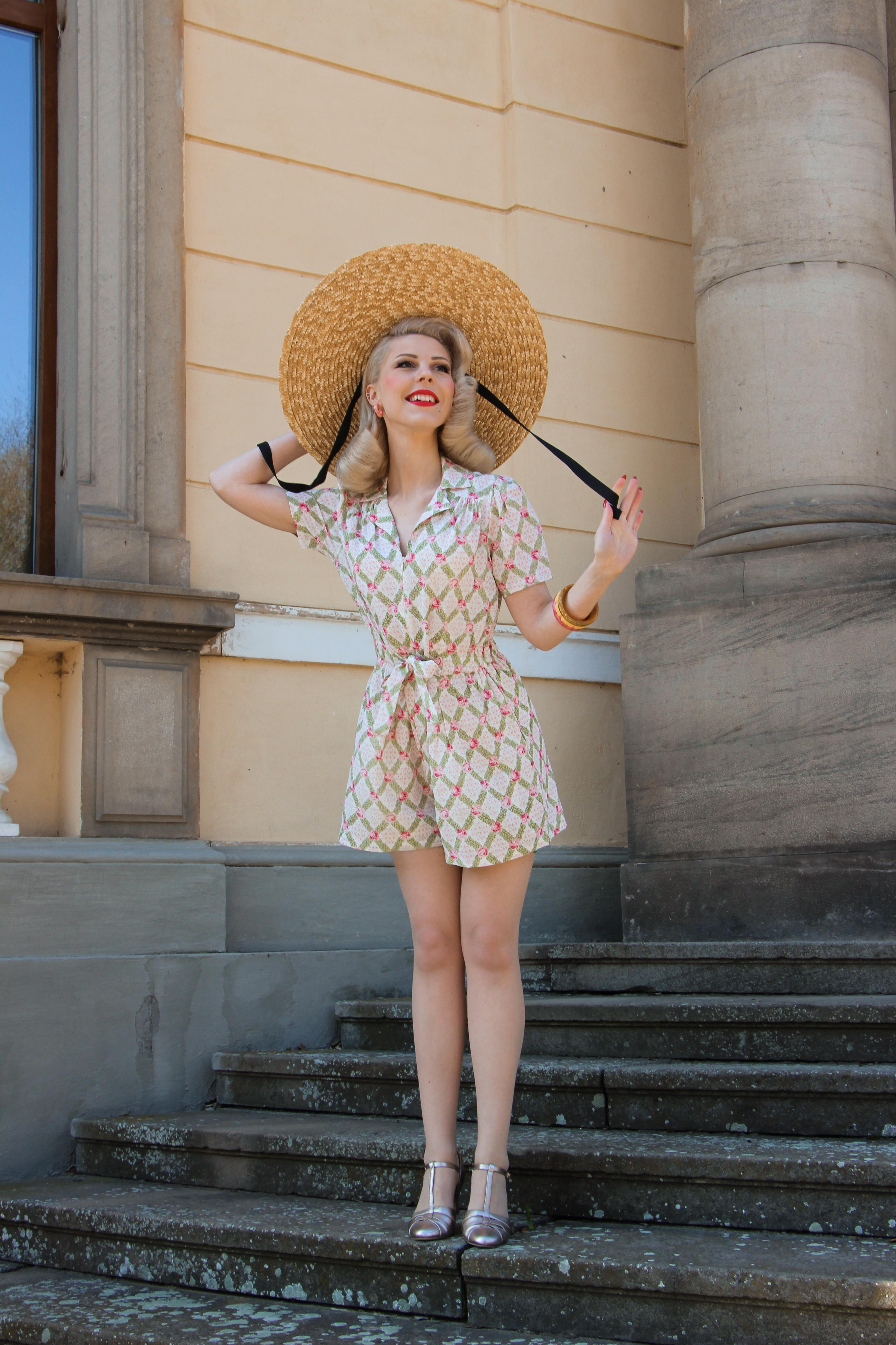 1940s Dresses and Clothing UK | 40s Shoes UK Emma Playsuit - Rose Kiss Print 8 £79.00 AT vintagedancer.com