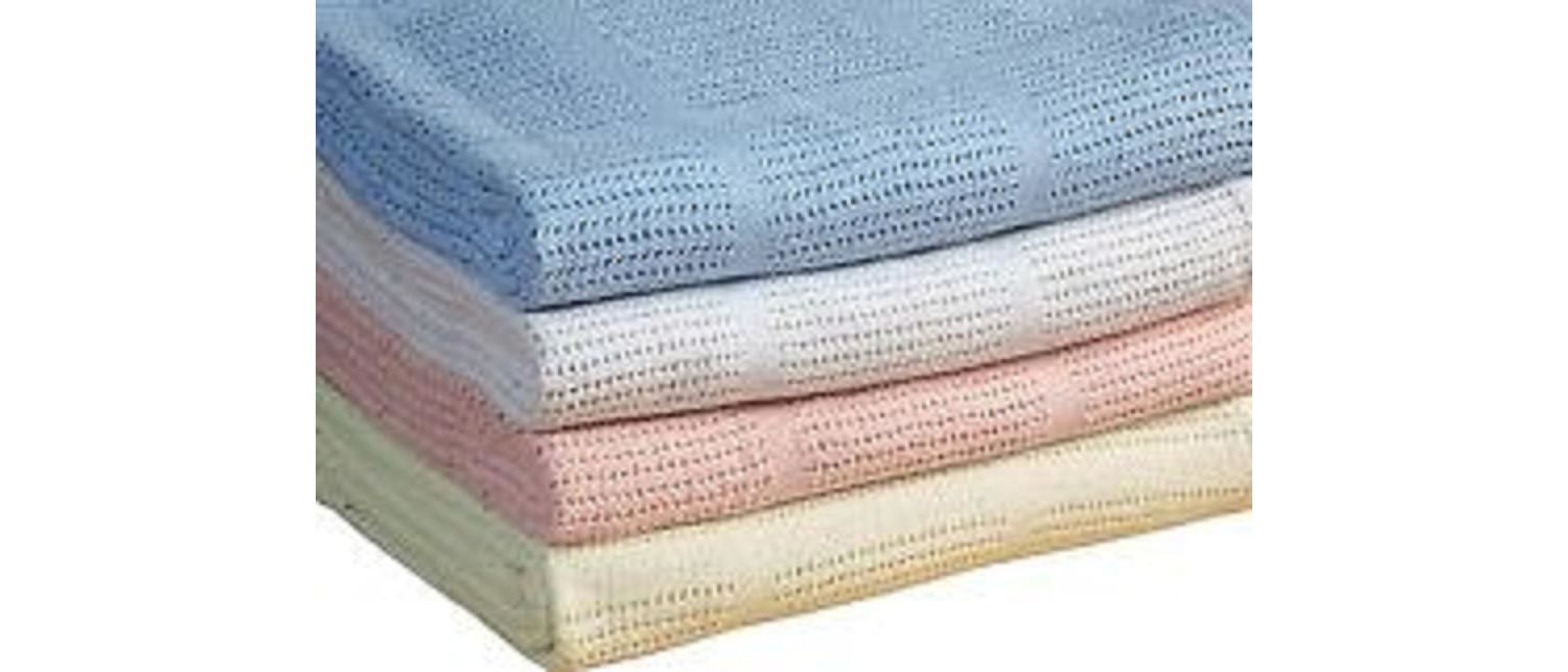 Pram Cellular Baby Blanket 100% Cotton 75 x 100cm - Baby Blue