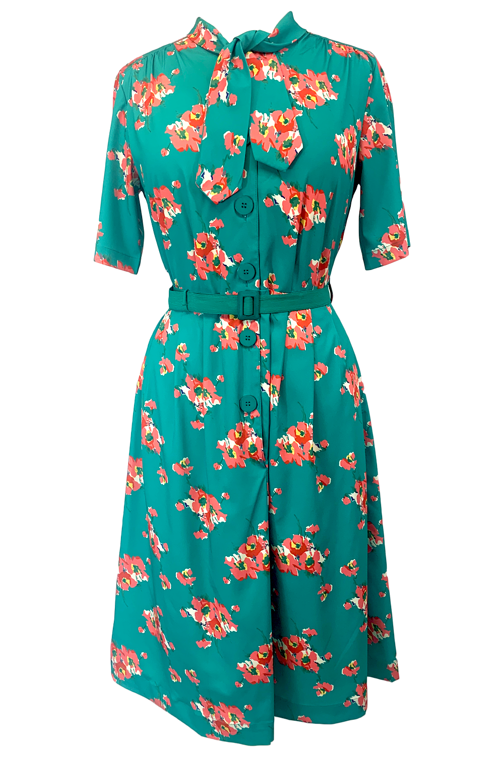 Vintage 50s Dresses: Best 1950s Dress Styles Casidy Pussy Bow Dress in Green Floral Perfect 1950s Style .. AW19 £49.00 AT vintagedancer.com