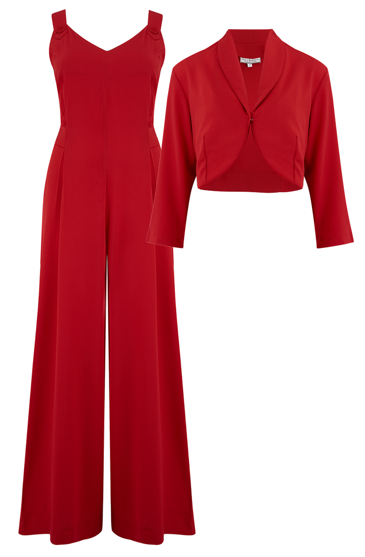 1950s Pants & Jeans- High Waist, Wide Leg, Capri, Pedal Pushers Lana Jump Suit  Bolero 2pc Set in Solid Red Classic 1950s Style New for AW19 £39.00 AT vintagedancer.com