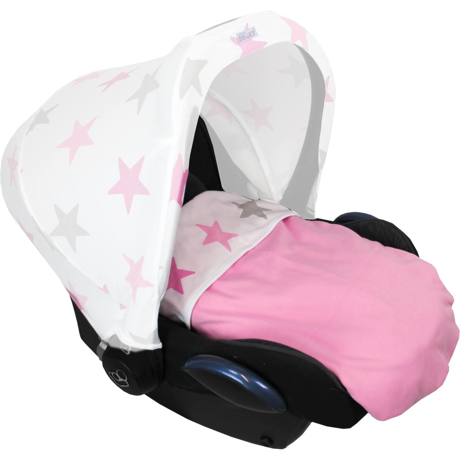 Dooky Blanket 100% Pure Luxurious Cotton Eco-Friendly- Choose your design - Baby Pink/Pink Stars