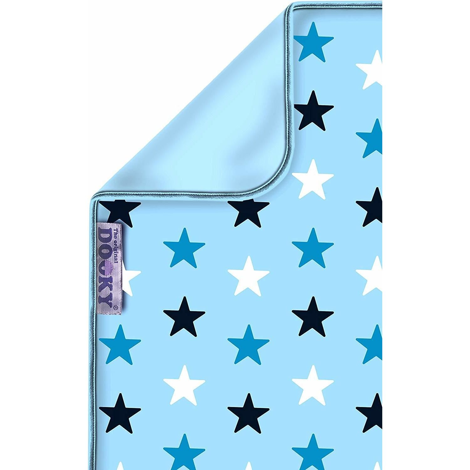 Dooky Blanket 100% Pure Luxurious Cotton Eco-Friendly- Choose your design - Baby Blue /Blue Stars
