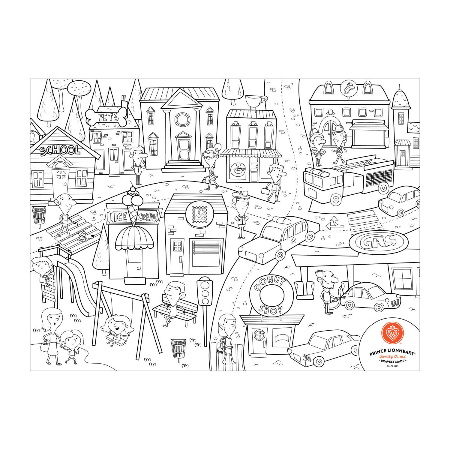 Prince Lionheart Colour and Draw Silicone Reusable Placemat - City/Dino/Farm/Zoo