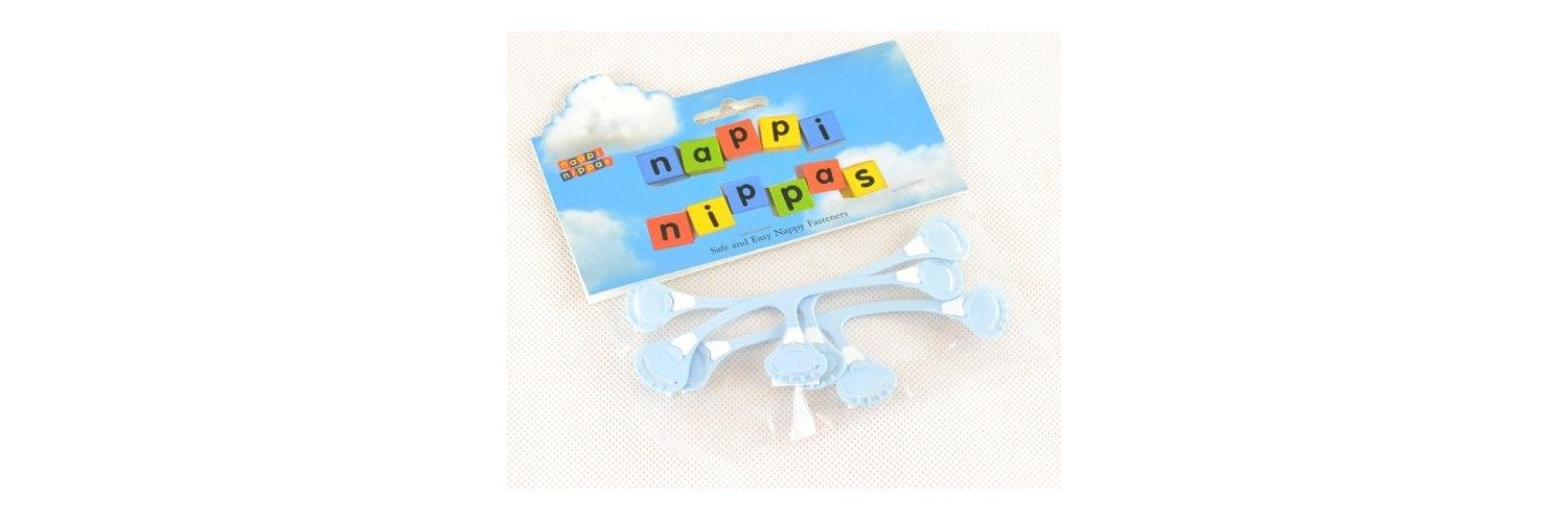 Nappi Nippas Nappy Fastener 3 Pack - Choose your colour - Baby Blue