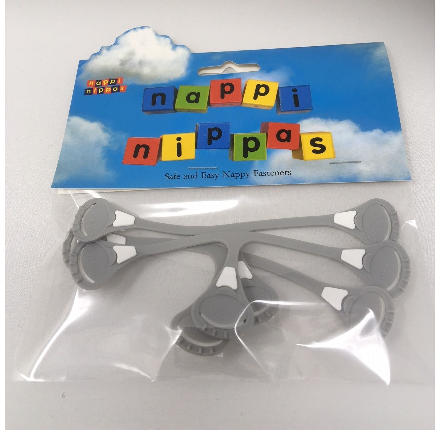 Nappi Nippas Nappy Fastener 3 Pack - Choose your colour - Grey