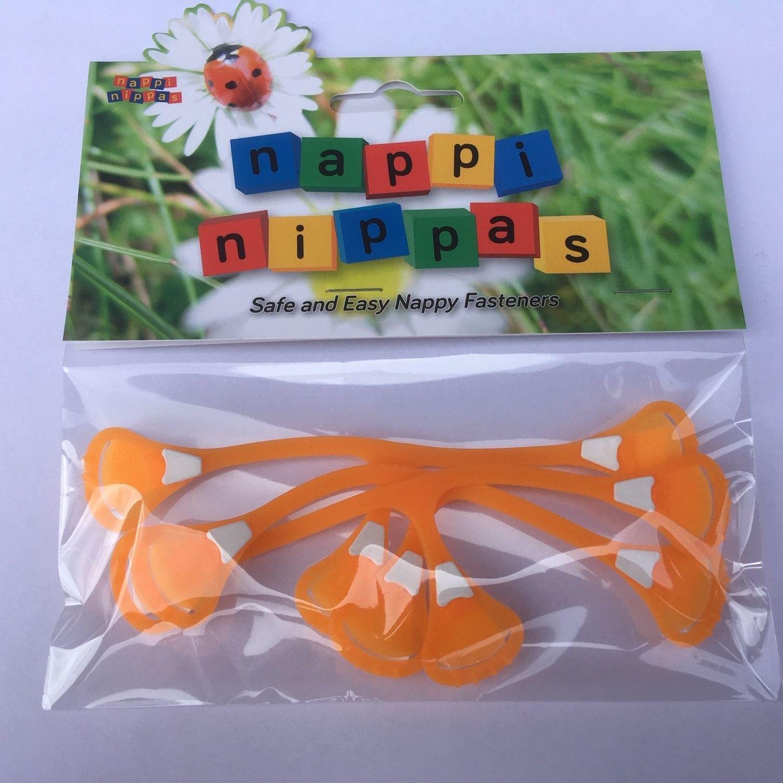 Nappi Nippas Nappy Fastener 3 Pack - Choose your colour - Fluorescent Orange