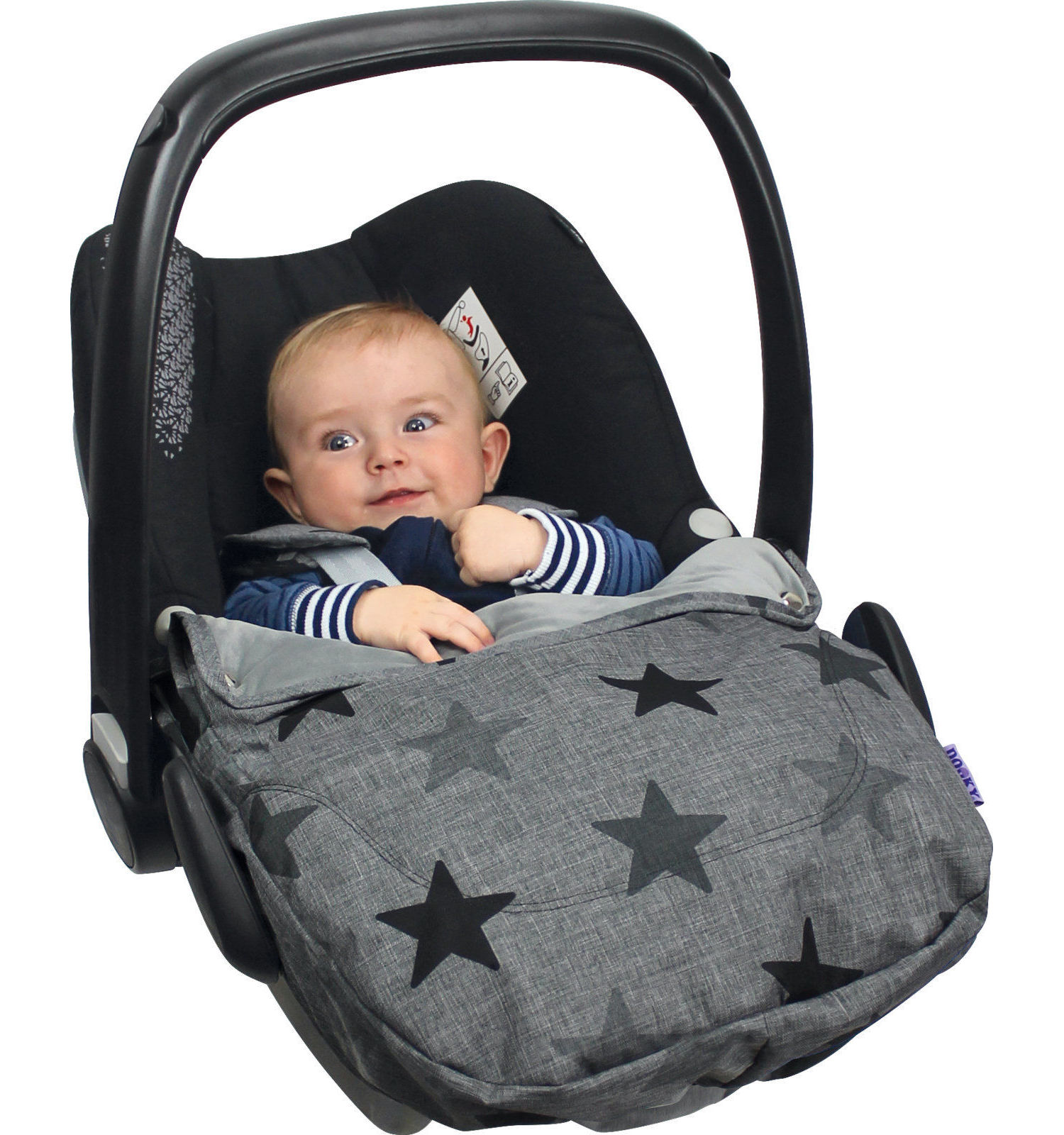 Dooky Cosy Top universal fleeced lined Cosytoe car seat cover - Choose your design - Grey Stars