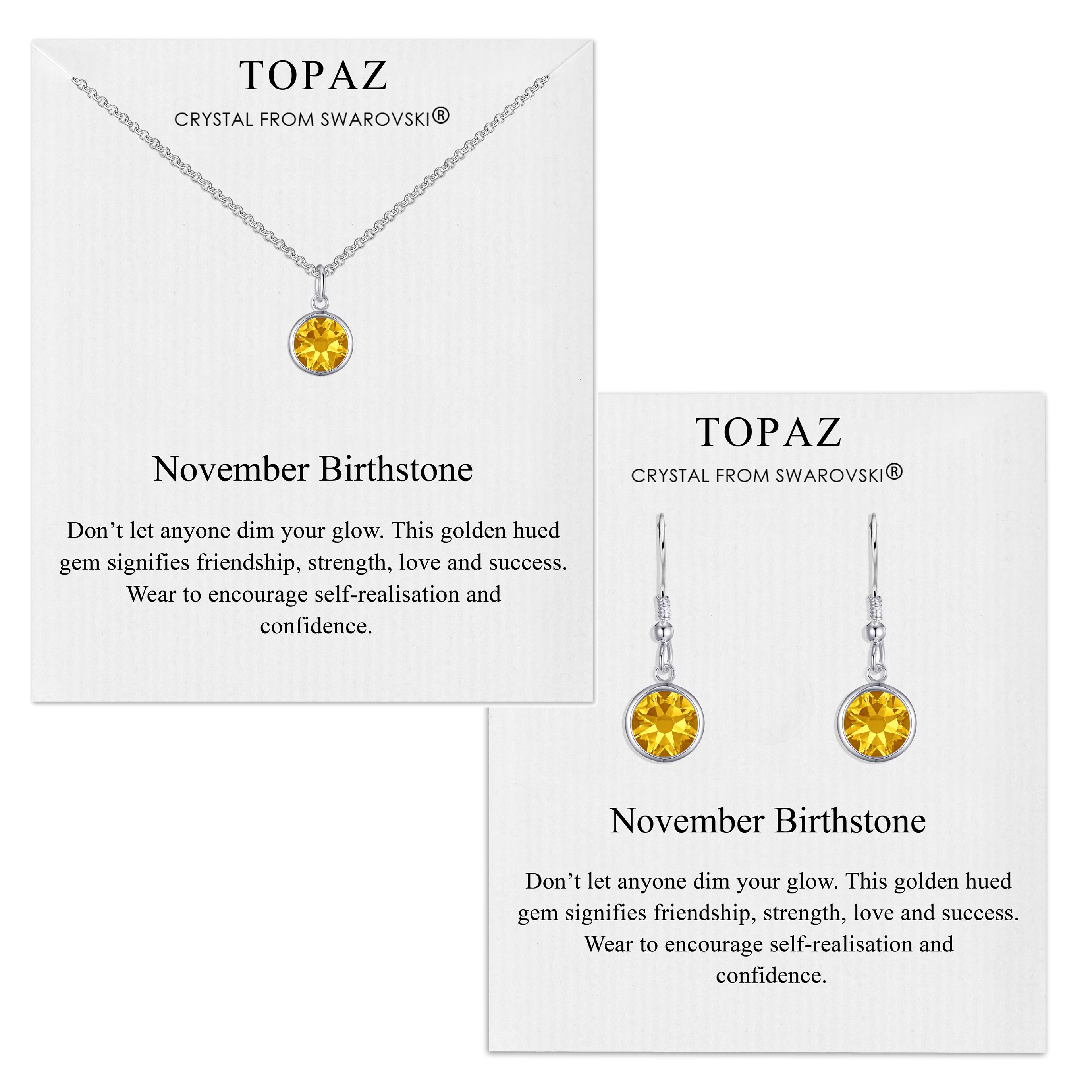 november (topaz) birthstone necklace & drop earrings set created with swarovski® crystals